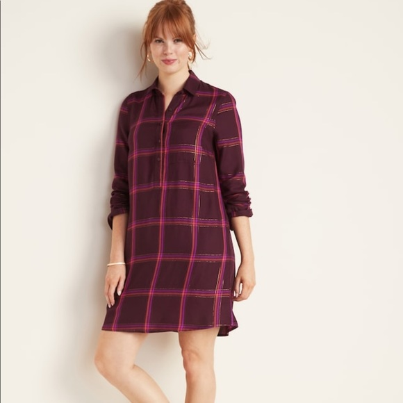 Old Navy Dresses & Skirts - Old Navy Plaid Shirt Dress NWT Size XL